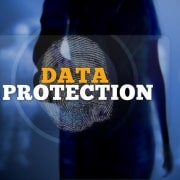 silhouette of woman touching data protection button with fingerprint
