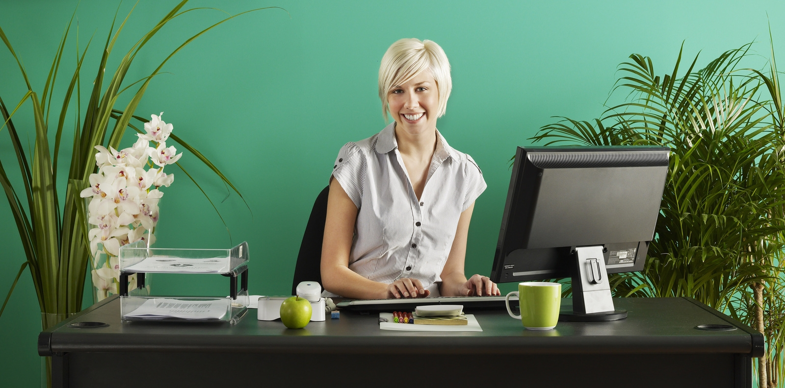 portrait of businesswoman working from home